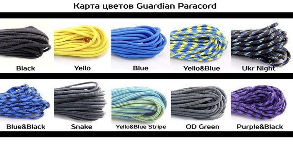 paracord 550 Guardian карта цветов